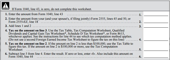 Virginia Beach Tax Preparation Foreign Earned Income Worksheet